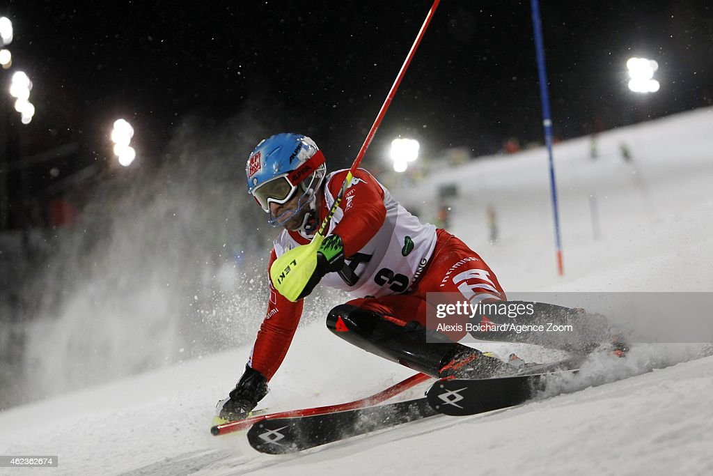 Stefano Gross of Italy takes the 2nd place during the Audi FIS Alpine Ski World Cup Men's Slalom on January 27 2015 in Schladming Austria