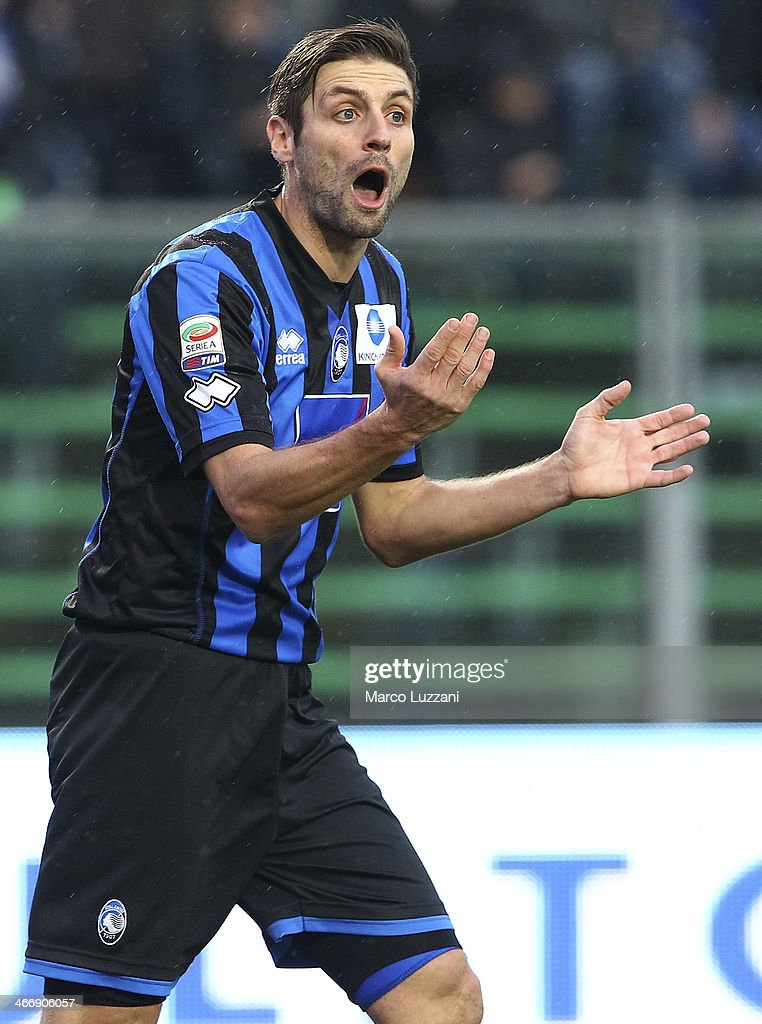 Stefano Lucchini of Atalanta BC shouts during the Serie A match between Atalanta BC and SSC Napoli at Stadio Atleti Azzurri d'Italia on February 2, 2014 in Bergamo, Italy.