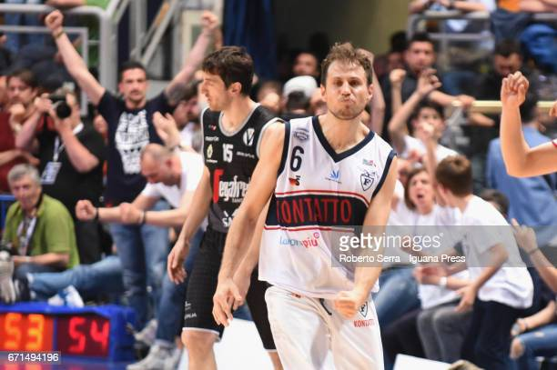 Stefano Mancinelli of Kontatto celebrates during the LegaBasket LNP of serie A2 match between Fortitudo Kontatto Bologna and Virtus Segafredo Bologna...