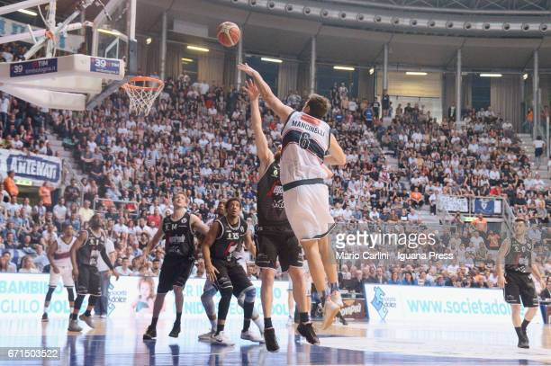 Stefano Mancinelli of Kontatto competes with Michael Umeh Guido Rosselli Kenny Lawson Klaudio Ndoja Marco Spissu of Segafredo during the LegaBasket...