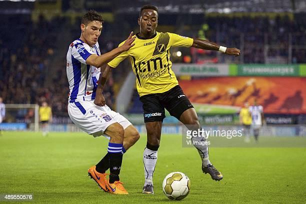 Stefano Marzo of sc Heerenveen Elson Hooi of NAC Breda during the Dutch Cup match between NAC Breda and SC Heerenveen on September 22 2015 at the Rat...