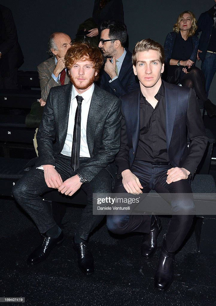 Stefano Masciolini and Alan Cappelli attend the Salvatore Ferragamo show as a part of Milan Fashion Week Menswear Autumn/Winter 2013 on January 13, 2013 in Milan, Italy.