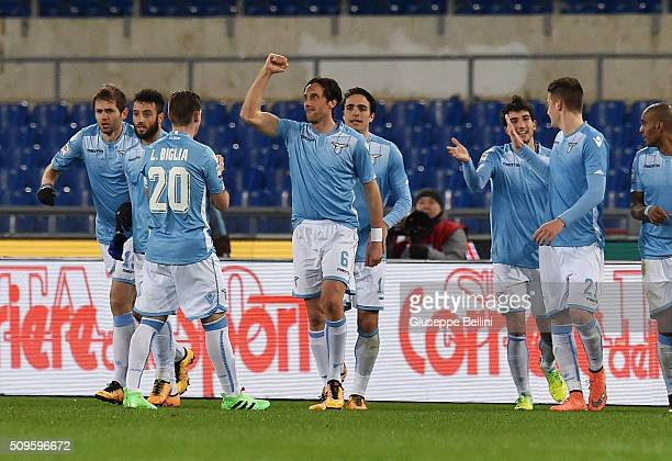 Stefano Mauri of SS Lazio celebrates after scoring the goal 20 during the Serie A match between SS Lazio and Hellas Verona FC at Stadio Olimpico on...