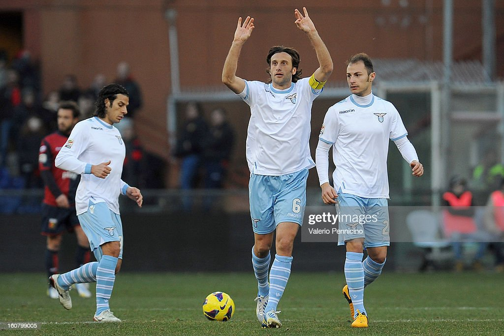 <a gi-track='captionPersonalityLinkClicked' href=/galleries/search?phrase=Stefano+Mauri&family=editorial&specificpeople=676361 ng-click='$event.stopPropagation()'>Stefano Mauri</a> (C) of S.S. Lazio celebrates his goal during the Serie A match between Genoa CFC and SS Lazio at Stadio Luigi Ferraris on February 3, 2013 in Genoa, Italy.