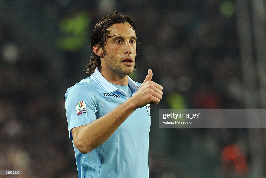 Stefano Mauri of S.S. Lazio gestures during the TIM cup match between Juventus FC and S.S. Lazio at Juventus Arena on January 22, 2013 in Turin, Italy.