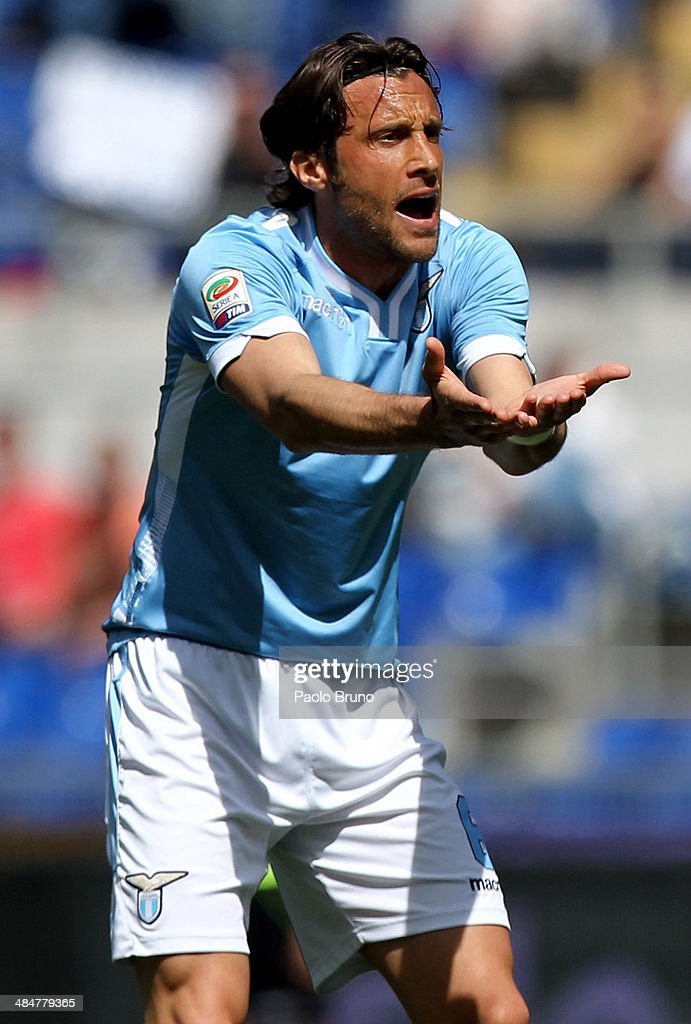 <a gi-track='captionPersonalityLinkClicked' href=/galleries/search?phrase=Stefano+Mauri&family=editorial&specificpeople=676361 ng-click='$event.stopPropagation()'>Stefano Mauri</a> of SS Lazio reacts during the Serie A match between SS Lazio and UC Sampdoria at Stadio Olimpico on April 6, 2014 in Rome, Italy.