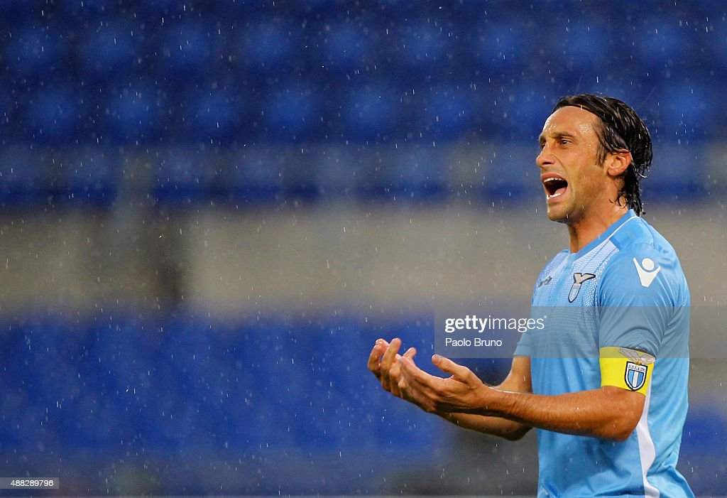 <a gi-track='captionPersonalityLinkClicked' href=/galleries/search?phrase=Stefano+Mauri&family=editorial&specificpeople=676361 ng-click='$event.stopPropagation()'>Stefano Mauri</a> of SS Lazio reacts during the Serie A match between SS Lazio and Udinese Calcio at Stadio Olimpico on September 13, 2015 in Rome, Italy.