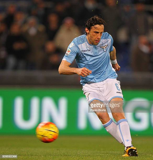 Stefano Mauri of SS Lazio scores the team's second goal during the Serie A match between SS Lazio and Hellas Verona FC at Stadio Olimpico on February...