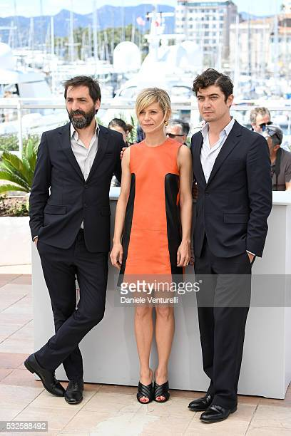 Stefano Mordini Marina Fois and Riccardo Scamarcio attend the 'Percile Il Nero' Photocall during the 69th annual Cannes Film Festival at the Palais...