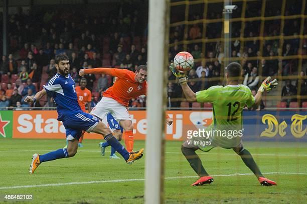 Stefano Mouktaris of Cyprus U21 Vincent Janssen of Netherland U21 goalkeeper Giorgos Tasouris of Cyprus U21 during the Uefa EURO 2017 qualifying...