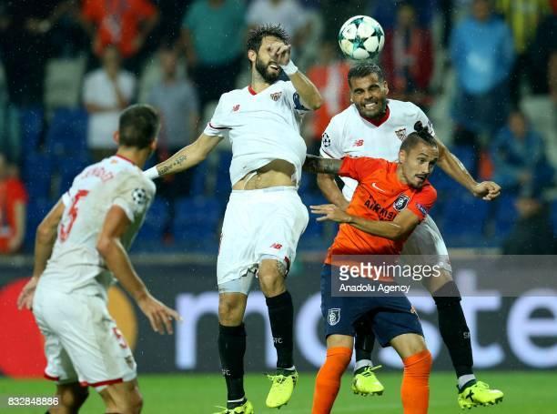 Stefano Napoleoni of Medipol Basaksehir in action during the UEFA Champions League playoff match between Medipol Basaksehir and Sevilla FC at...