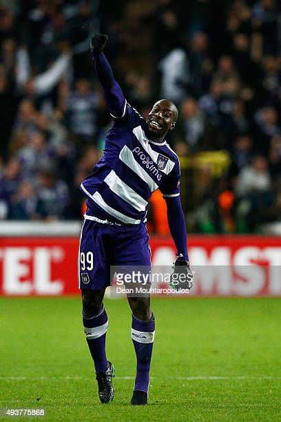 Stefano Okaka Chuka of Anderlecht celebrates after scoring his team's second goal during the UEFA Europa League Group J match between RSC Anderlecht...