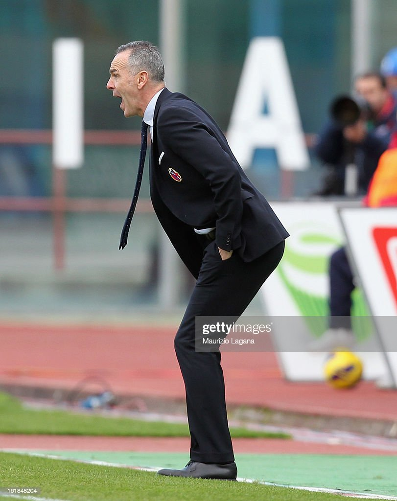 Stefano Pioli head coach of Bologna during the Serie A match between Calcio Catania and Bologna FC at Stadio Angelo Massimino on February 17, 2013 in Catania, Italy.