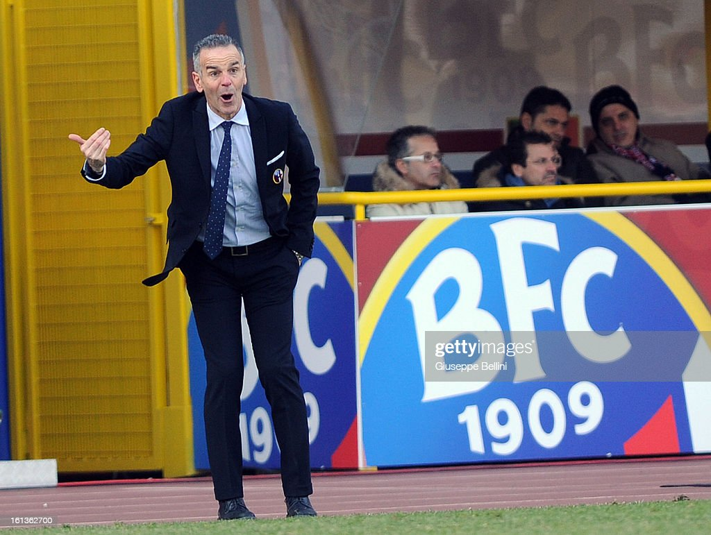 <a gi-track='captionPersonalityLinkClicked' href=/galleries/search?phrase=Stefano+Pioli&family=editorial&specificpeople=6314383 ng-click='$event.stopPropagation()'>Stefano Pioli</a>, head coach of Bologna reacts during the Serie A match between Bologna FC and AC Siena at Stadio Renato Dall'Ara on February 10, 2013 in Bologna, Italy.