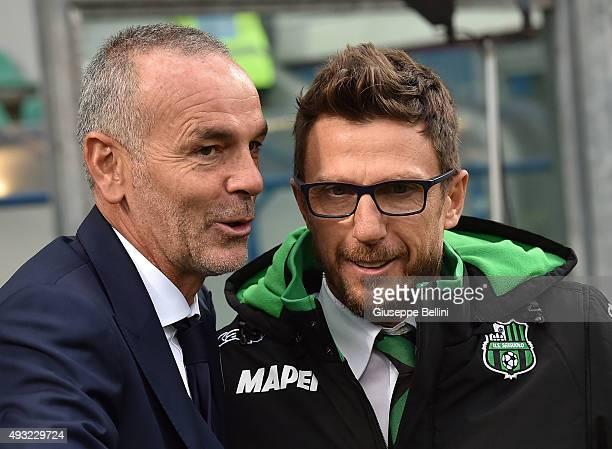 Stefano Pioli head coach of Lazio and Eusebio Di Francesco head coach of Sassuolo before the Serie A match between US Sassuolo Calcio and SS Lazio at...
