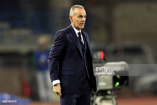 Stefano Pioli head coach of SS Lazio looks on during the Serie A match between Empoli FC and SS Lazio at Stadio Carlo Castellani on November 29 2015...