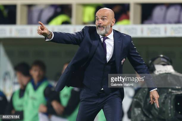 Stefano Pioli manager of ACF Fiorentina gestures during the Serie A match between FC Crotone and Benevento Calcio at Stadio Artemio Franchi on...
