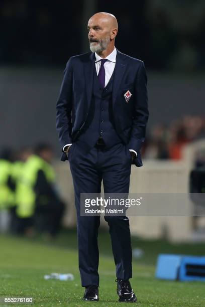 Stefano Pioli manager of ACF Fiorentina looks on during the Serie A match between FC Crotone and Benevento Calcio at Stadio Artemio Franchi on...