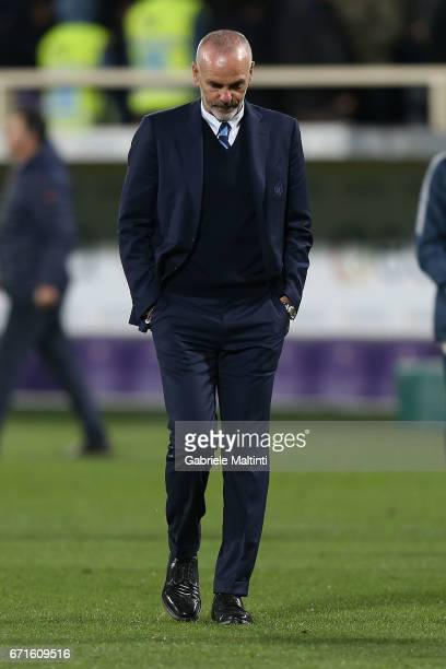 Stefano Pioli manager of FC Internazionale shows his dejection during the Serie A match between ACF Fiorentina v FC Internazionale at Stadio Artemio...