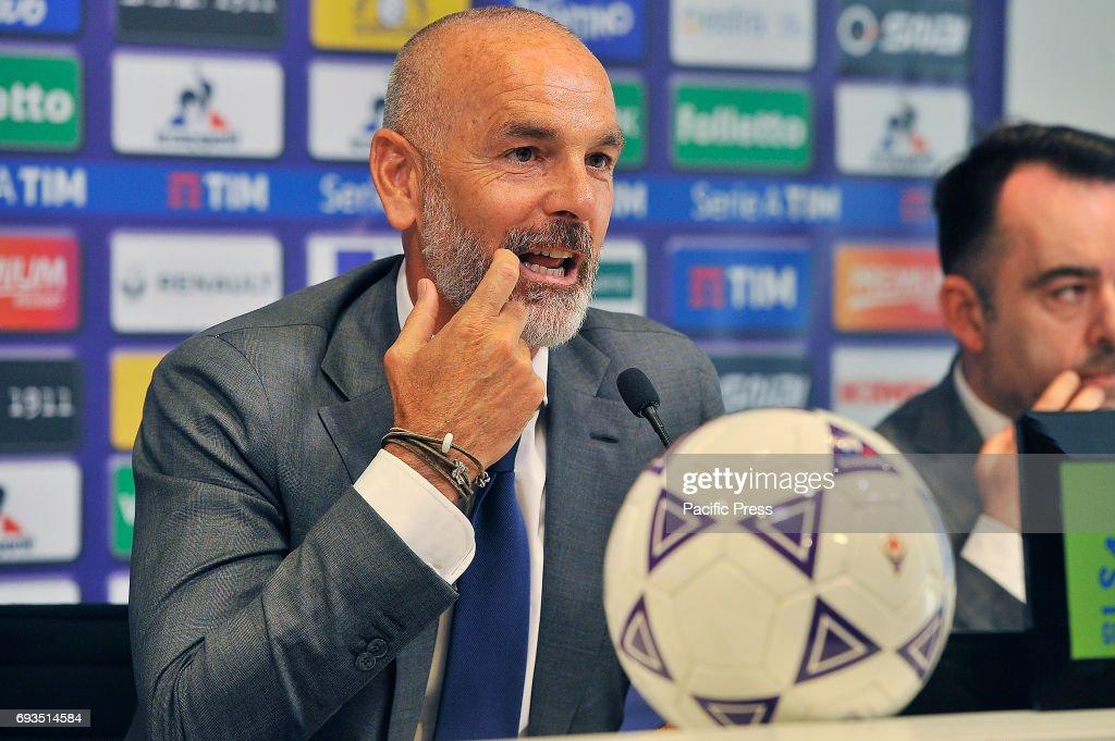 Stefano Pioli, new head coach of Italian Serie A team ACF. Fiorentina, during his presentation at Artemio Franchi Stadium.