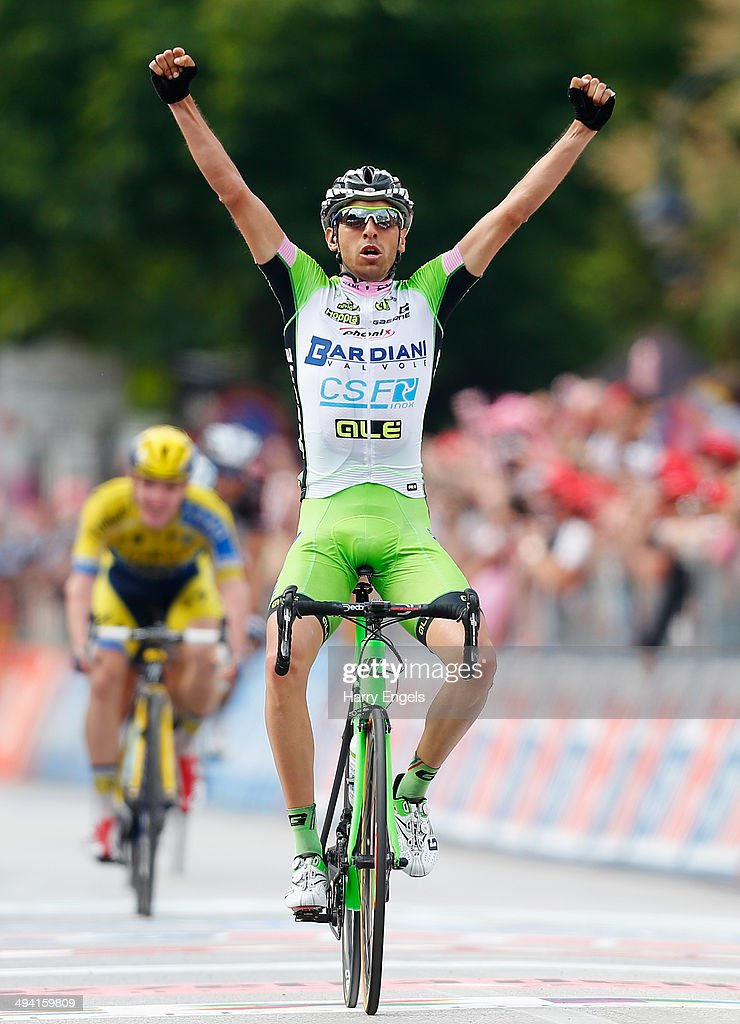 Stefano Pirazzi of Italy and team Bardiani CSF celebrates crossing the finish line to win the seventeenth stage of the 2014 Giro d'Italia, a 208km stage between Sarnonico and Vittorio Veneto on May 28, 2014 in Vittorio Veneto, Italy.