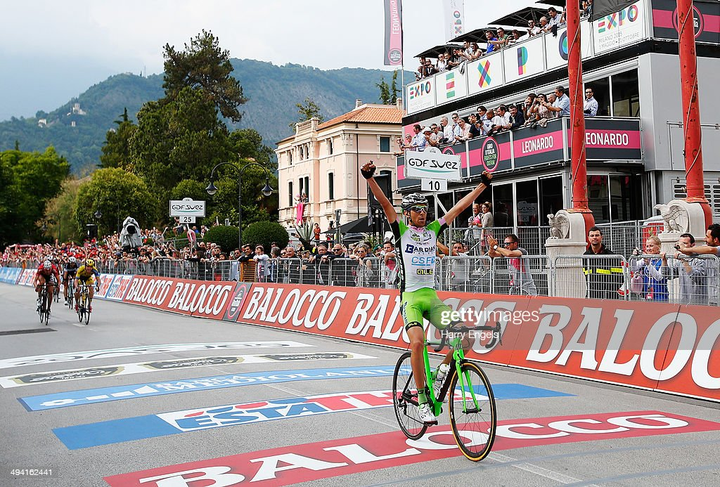 <a gi-track='captionPersonalityLinkClicked' href=/galleries/search?phrase=Stefano+Pirazzi&family=editorial&specificpeople=4523892 ng-click='$event.stopPropagation()'>Stefano Pirazzi</a> of Italy and team Bardiani CSF celebrates crossing the line to win the seventeenth stage of the 2014 Giro d'Italia, a 208km stage between Sarnonico and Vittorio Veneto on May 28, 2014 in Vittorio Veneto, Italy.