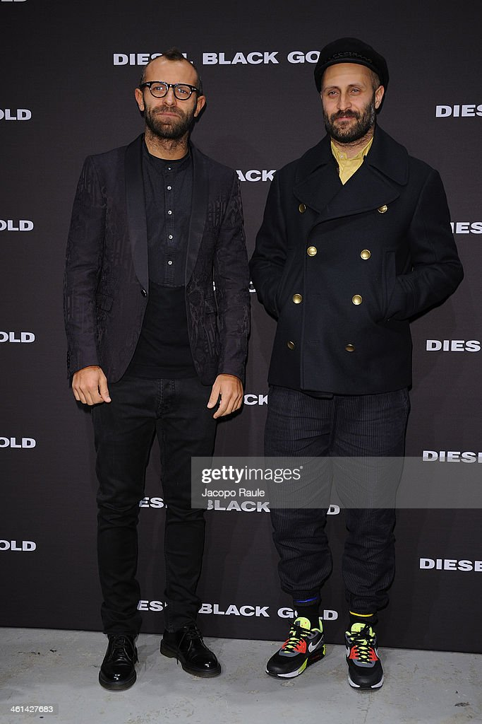 Stefano Rosso and Andrea Rosso attend Diesel Black Gold fashion show during Pitti Immagine Uomo 85 on January 8, 2014 in Florence, Italy.