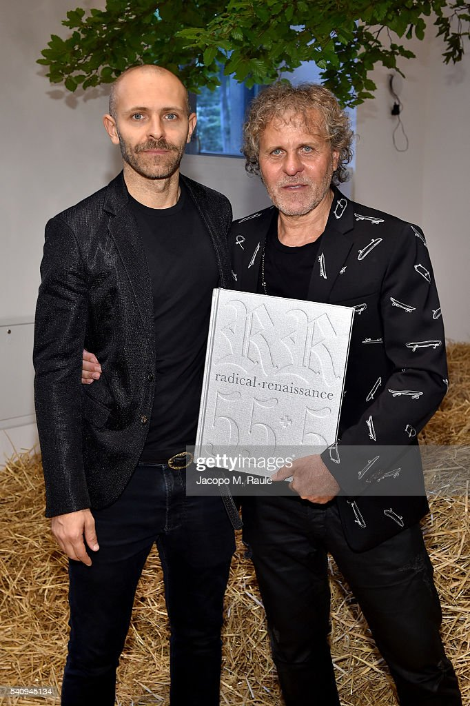 Stefano Rosso and Renzo Rosso attend Renzo Rosso And OTB Launch 'Radical Renaissance 555' Book on June 17 2016 in Milan Italy