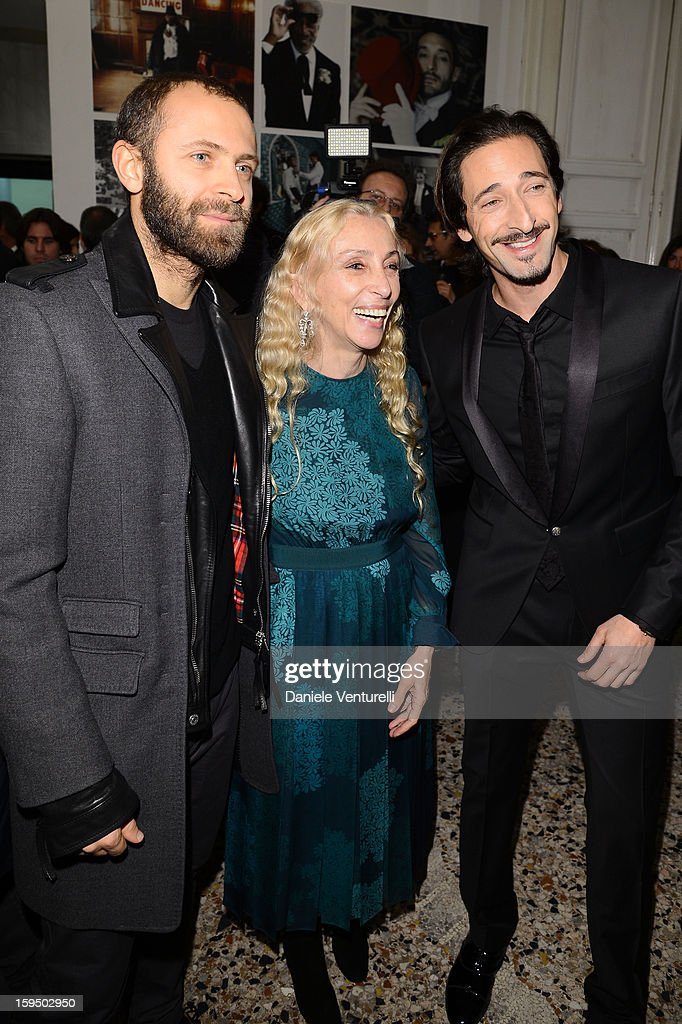 Stefano Rosso, <a gi-track='captionPersonalityLinkClicked' href=/galleries/search?phrase=Franca+Sozzani&family=editorial&specificpeople=639425 ng-click='$event.stopPropagation()'>Franca Sozzani</a> and <a gi-track='captionPersonalityLinkClicked' href=/galleries/search?phrase=Adrien+Brody&family=editorial&specificpeople=202175 ng-click='$event.stopPropagation()'>Adrien Brody</a> attend the 'So Chic So Stylish' cocktail party as part of Milan Fashion Week Menswear Autumn/Winter 2013 on January 14, 2013 in Milan, Italy.