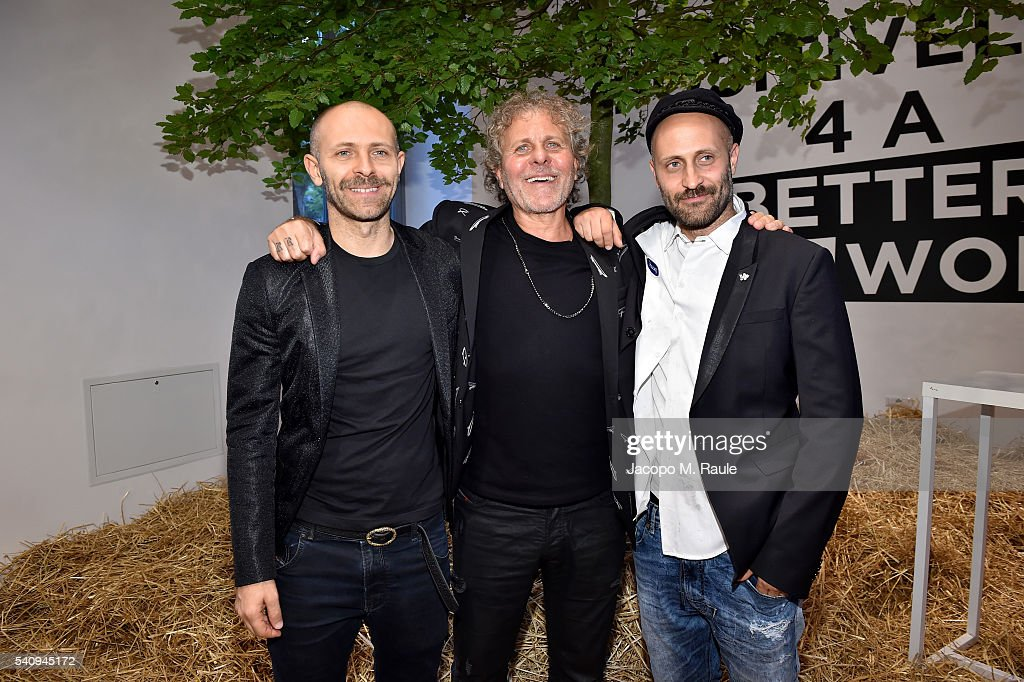 Stefano Rosso Renzo Rosso and Andrea Rosso attend Renzo Rosso And OTB Launch 'Radical Renaissance 555' Book on June 17 2016 in Milan Italy