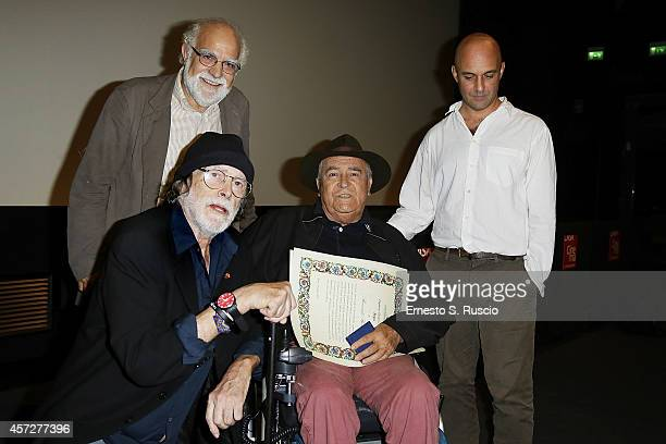 Stefano Rulli Tomas Milian Bernardo Bertolucci and Lorenzo Castore attend the Cocktail Party during the 9th Rome Film Festival at Casa del Cinema on...