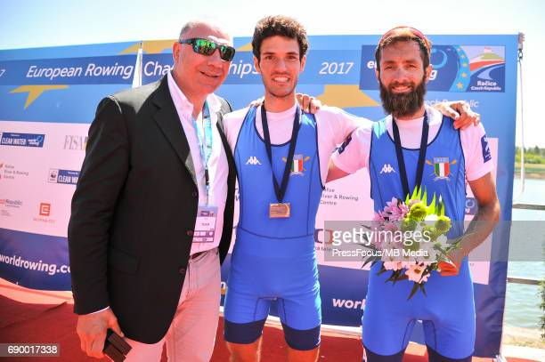 Stefano RUTA Pietro of Italy during medal ceremony of the Lightweight Men's Double Sculls during the 2017 European Rowing Championships on May 28...