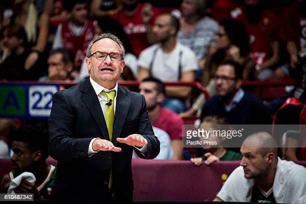 Stefano Sacripanti during the final of Macron Supercoppa 2016 basketball match between Sidigas Avellino vs EA7 Emporio Armani Milano at Mediolanum...