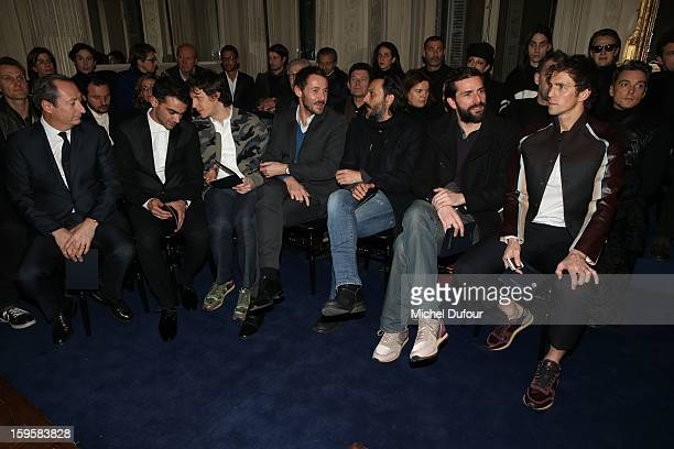 Stefano Sassi Primo Reggiani Andrea Bosca Julien Boisselier Olivier Sitruk Gregory Fitoussi and James Marshall attend the Valentino Men Autumn /...