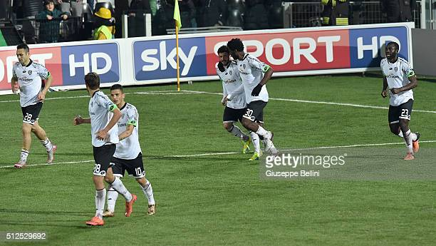 Stefano Sensi of AC Cesena celebrates after scoring the opening goal during the Serie B match between AC Cesena and Cagliari Calcio on February 26...