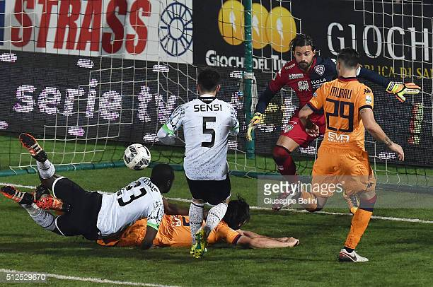 Stefano Sensi of AC Cesena scores the opening goal during the Serie B match between AC Cesena and Cagliari Calcio on February 26 2016 in Cesena Italy
