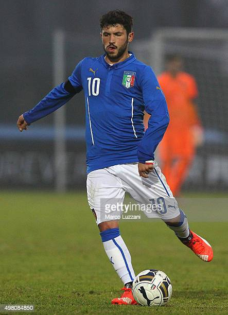 Stefano Sensi of Italy in action during the match between Italy U20 and Switzerland U20 at Stadio Citta' di Meda on November 17 2015 in Meda Italy