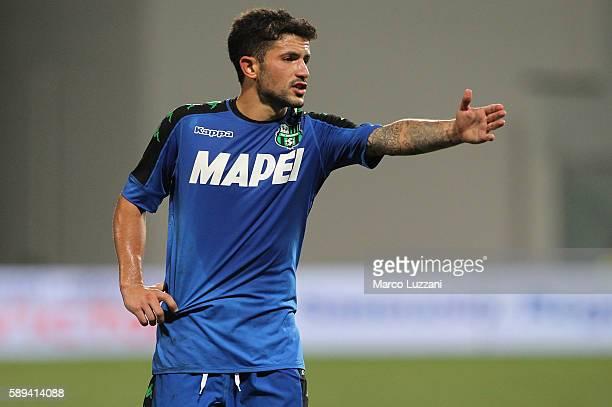 Stefano Sensi of US Sassuolo Calcio gestures during the TIM Preseason Tournament at Mapei Stadium Citta' del Tricolore on August 10 2016 in Reggio...