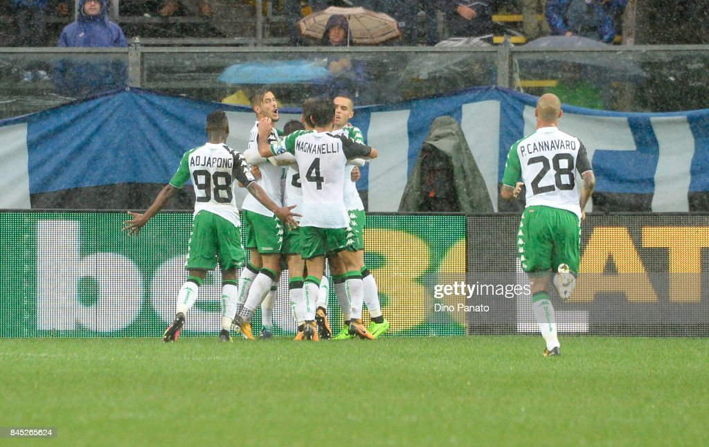 Stefano Sensi of Us Sassuolo celebrates after scoring his opening goal during the Serie A match between Atalanta BC and US Sassuolo at Stadio Atleti Azzurri d'Italia on September 10, 2017 in Bergamo, Italy.