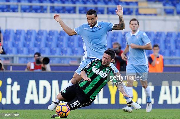 Stefano Sensi of US Sassuolo competes a ball with Felipe Anderson of SS Lazio during the Serie A match between SS Lazio and US Sassuolo at Stadio...