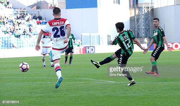 Stefano Sensi of US Sassuolo scores his team's first goal during the Serie A match between US Sassuolo and FC Crotone at Mapei Stadium Citta' del...