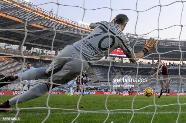 Stefano Sorrentino of AC ChievoVerona saves a penalty kick of Andrea Belotti during the Serie A football match between Torino FC and AC ChievoVerona...
