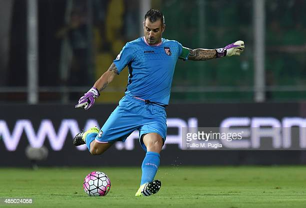 Stefano Sorrentino of Palermo in action during the Serie A match between US Citta di Palermo and Genoa CFC at Stadio Renzo Barbera on August 23 2015...