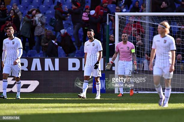 Stefano Sorrentino of Palermo reacts after Genoa's opening goal during the Serie A match between Genoa CFC and US Citta di Palermo at Stadio Luigi...
