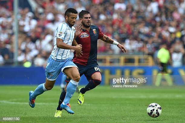 Stefano Sturaro of Genoa CFC competes with Felipe Anderson of SS Lazio during the Serie A match between Genoa CFC and SS Lazio at Stadio Stadio Luigi...