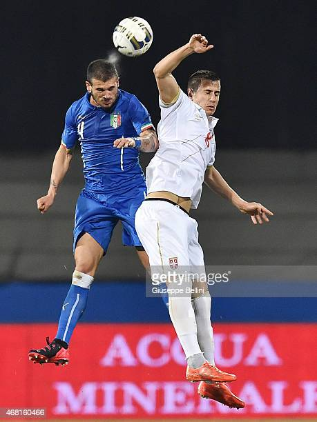 Stefano Sturaro of Italy and Aleksandar Pesic of Serbia in action during the international friendly match between Italy U21 and Serbia U21 at Stadio...