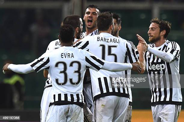 Stefano Sturaro of Juventus celebrates after scoring his team's second goal during the Serie A match between US Citta di Palermo and Juventus FC at...