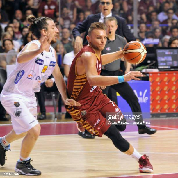 Stefano Tonut of Umana competes with Aaron Craft of Dolomiti during the match game 2 of play off final series of LBA Legabasket of Serie A1 between...