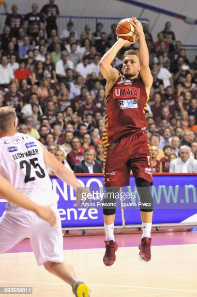 Stefano Tonut of Umana competes with Luca Lechthaler of Dolomiti during the match game 2 of play off final series of LBA Legabasket of Serie A1...