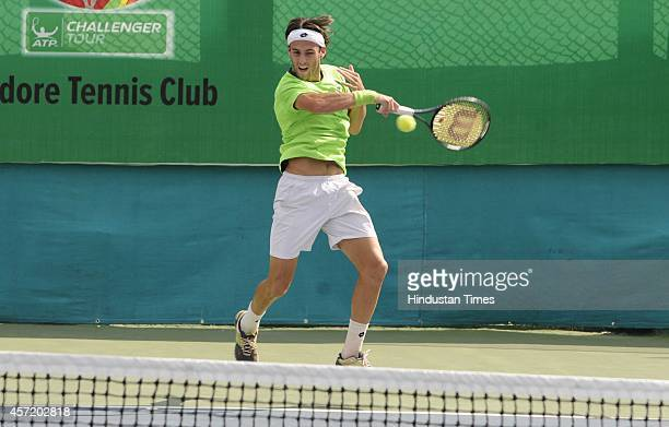 Stefano Travaglia of Italy playing against Indian Tennis player Narayanaswamy Sriram Balaji during the second day of Indore Open ATP Challenger...